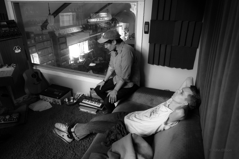John and Dick listening to playback in the Unknown Studio.