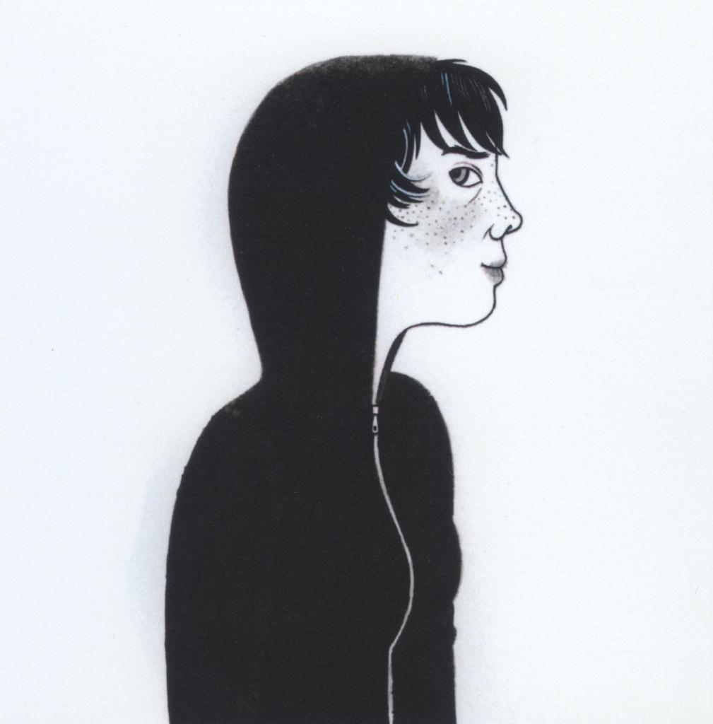 Drawing (self-portrait) by Geneviève Castrée/Elverum.
