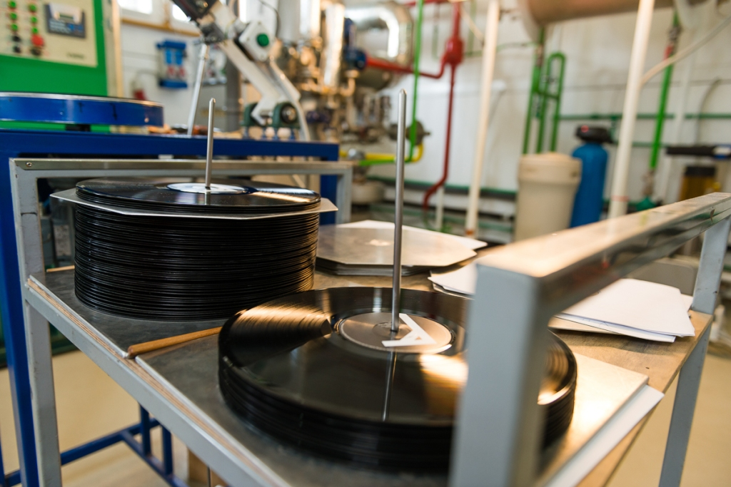 Vinyl records in a pressing plant