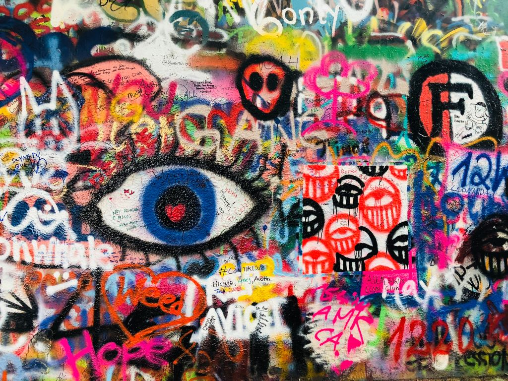 Graffiti wall of eyes