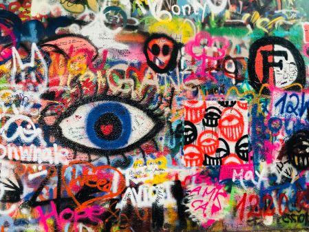 Graffiti wall of eyes
