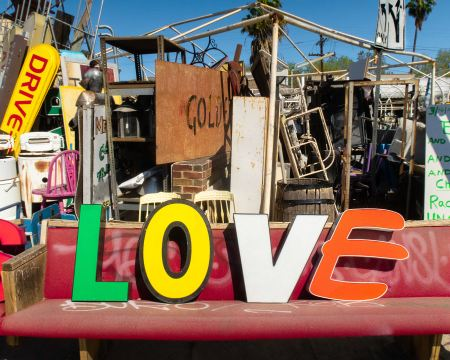 Old sign in a junk yard.