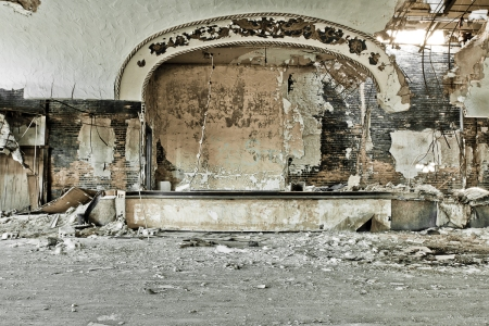 A ruined stage in a demolished building