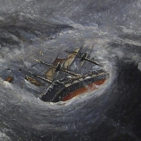 Sinking ship in stormy sea