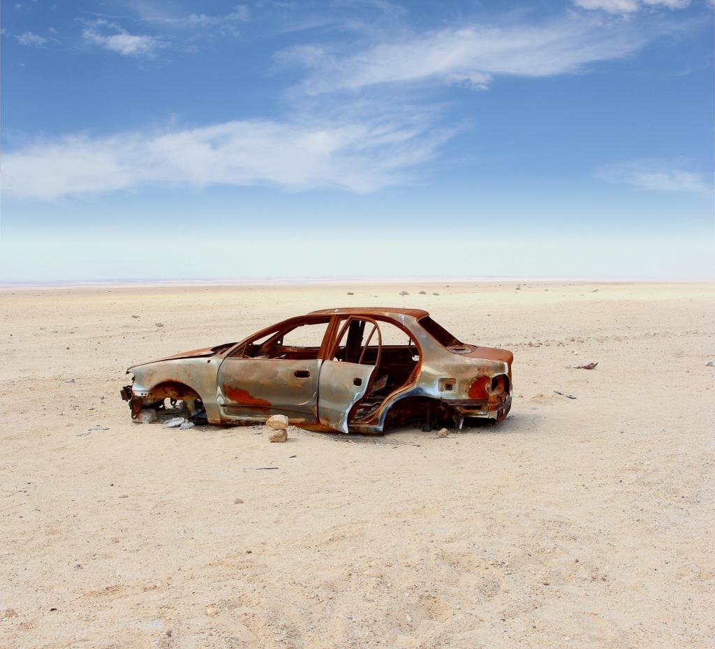 Abandoned car in the desert.