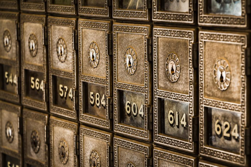 Old mail boxes in an old post office.